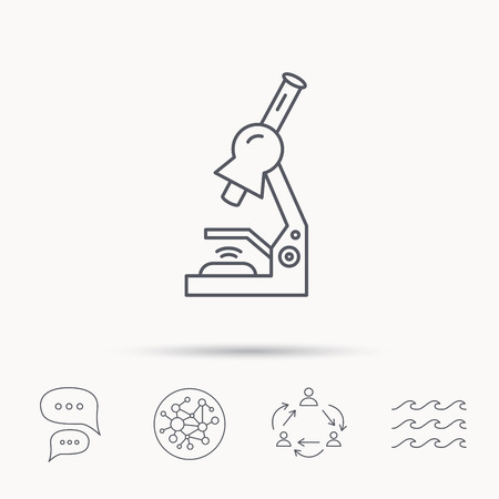 criminology: Microscope icon. Medical laboratory equipment sign. Pathology or scientific symbol. Global connect network, ocean wave and chat dialog icons. Teamwork symbol. Illustration