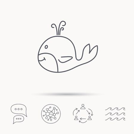 cetacea: Whale icon. Largest mammal animal sign. Baleen whale with fountain symbol. Global connect network, ocean wave and chat dialog icons. Teamwork symbol.