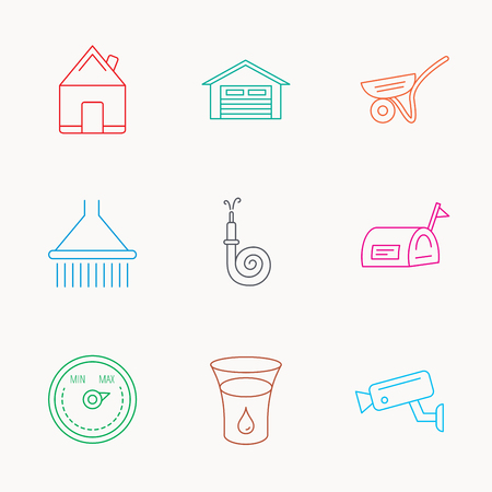 Real estate, garage and heat regulator icons. Trolley, fire hose and mailbox linear signs. Shower, glass of water and video monitoring icons. Linear colored icons.
