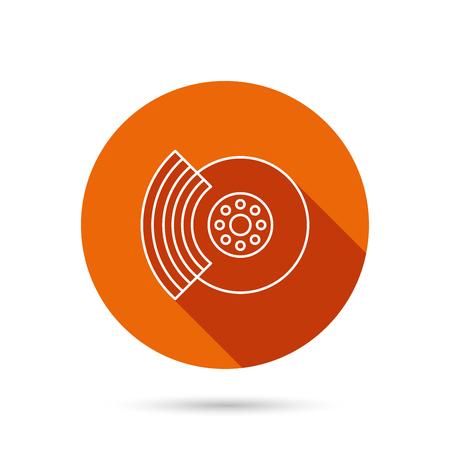 brakes: Brakes icon. Auto disk repair sign. Round orange web button with shadow.