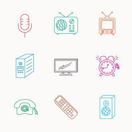 clock radio: TV remote, retro phone and radio icons. PC case, microphone and alarm clock linear signs. Linear colored icons.