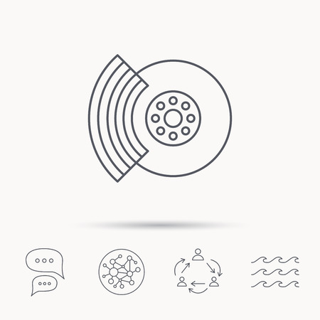 brakes: Brakes icon. Auto disk repair sign. Global connect network, ocean wave and chat dialog icons. Teamwork symbol.