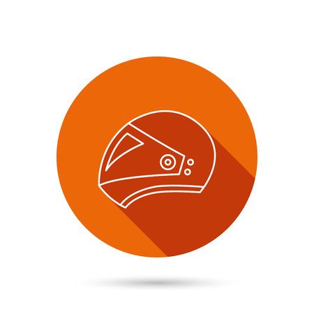 harley: Motorcycle helmet icon. Biking sport sign. Round orange web button with shadow.
