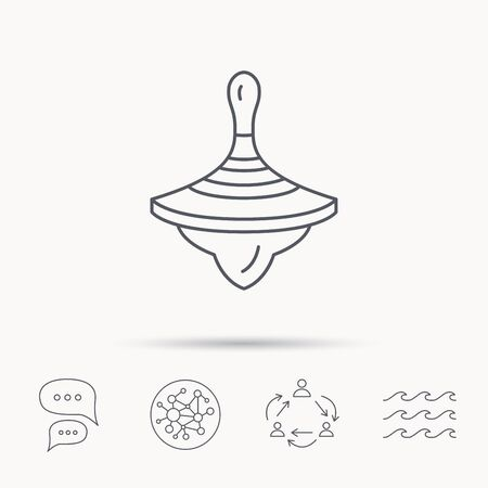 spinning top: Whirligig icon. Baby toy sign. Spinning top symbol. Global connect network, ocean wave and chat dialog icons. Teamwork symbol.