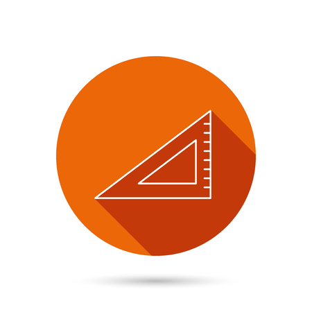 straightedge: Triangular ruler icon. Straightedge sign. Geometric symbol. Round orange web button with shadow. Illustration