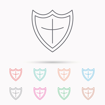 honour guard: Shield icon. Protection sign. Royal defence symbol. Linear icons on white background. Illustration
