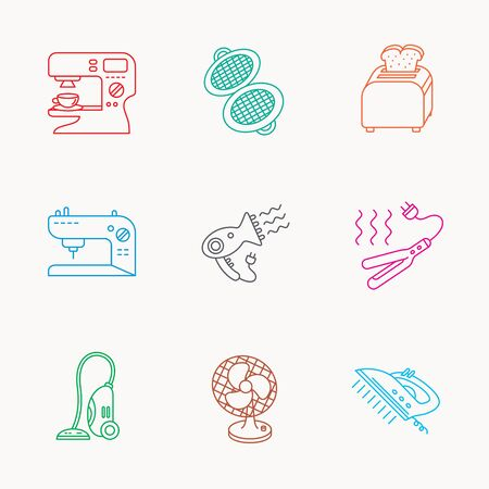 ventilator: Coffee maker, sewing machine and toaster icons. Ventilator, vacuum cleaner linear signs. Hair dryer, steam ironing and waffle-iron icons. Linear colored icons. Illustration