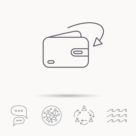 receive: Receive money icon. Cash wallet sign. Global connect network, ocean wave and chat dialog icons. Teamwork symbol. Illustration