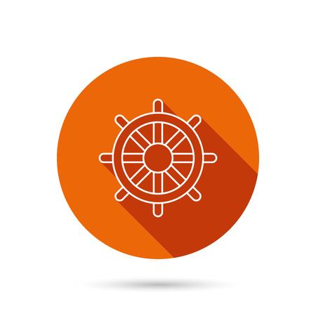 rudder ship: Ship steering wheel icon. Captain rudder sign. Sailing symbol. Round orange web button with shadow.