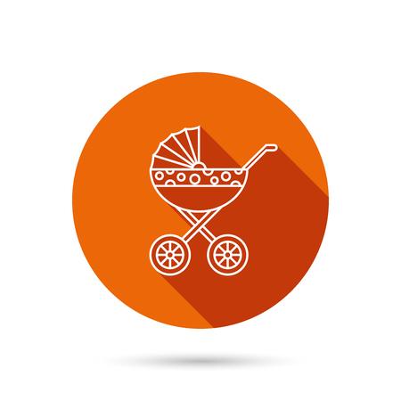 buggy: Pram icon. Newborn stroller sign. Child buggy transportation symbol. Round orange web button with shadow.