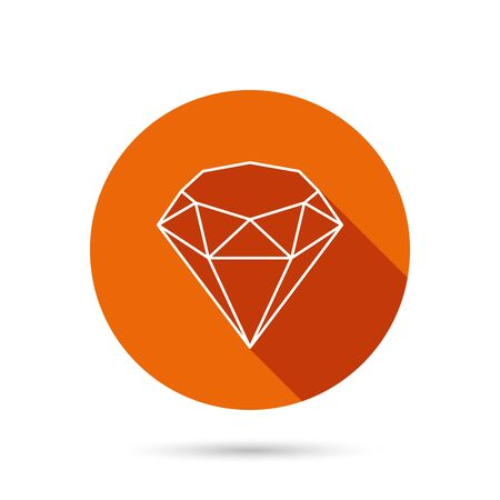round brilliant: Brilliant icon. Diamond gemstone sign. Round orange web button with shadow. Illustration