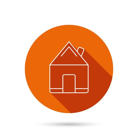 realestate: Real estate icon. House building sign. Real-estate property symbol. Round orange web button with shadow.