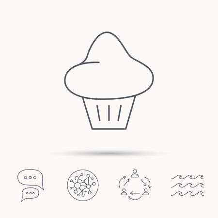 Brioche icon. Bread bun sign. Bakery symbol. Global connect network, ocean wave and chat dialog icons. Teamwork symbol.