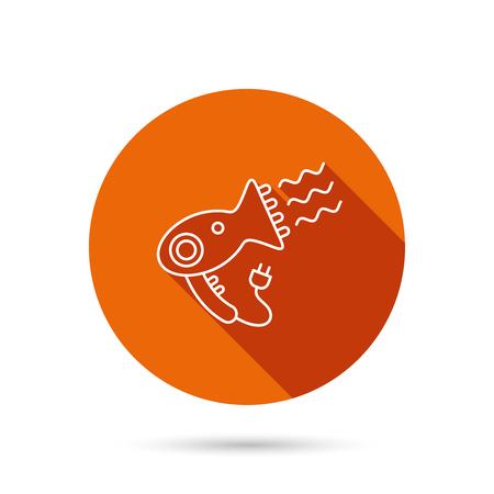 hairdryer: Hairdryer icon. Electronic blowdryer sign. Hairdresser equipment symbol. Round orange web button with shadow.