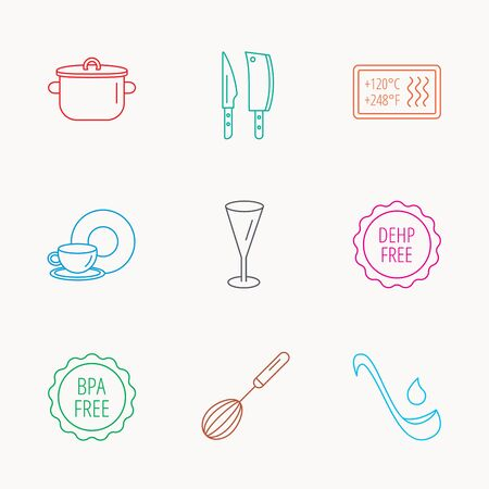 bpa: Kitchen knives, glass and pan icons. Food and drink, coffee cup and whisk linear signs. Soup ladle, heat-resistant and DEHP, BPA free icons. Linear colored icons. Illustration