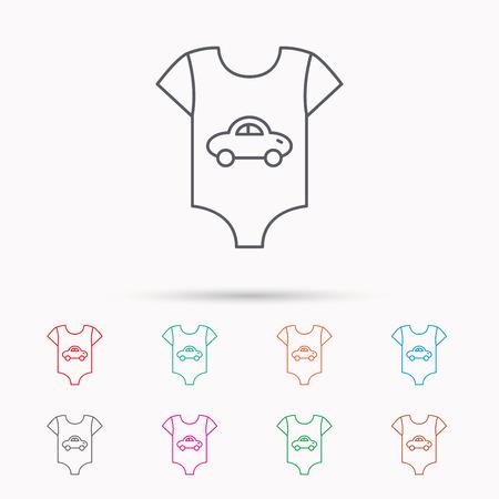 Neugeborene Kleidung Symbol. Babyhemd Verschleiß Zeichen. Auto-Symbol. Linear-Symbole auf weißem Hintergrund.