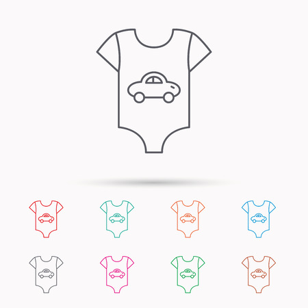 romper suit: Newborn clothes icon. Baby shirt wear sign. Car symbol. Linear icons on white background. Illustration