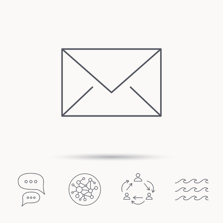 mail icon: Envelope mail icon. Email message sign. Internet letter symbol. Global connect network, ocean wave and chat dialog icons. Teamwork symbol.