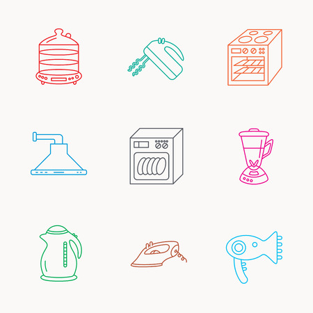 hair dryer: Dishwasher, kettle and mixer icons. Oven, steamer and iron linear signs. Hair dryer, blender and kitchen hood icons. Linear colored icons. Illustration