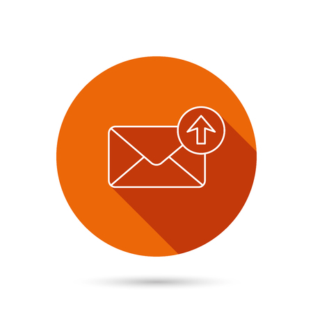 outbox: Mail outbox icon. Email message sign. Upload arrow symbol. Round orange web button with shadow.