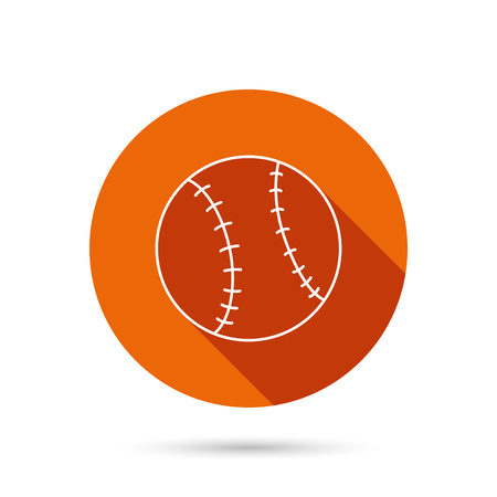 icon buttons: Baseball equipment icon. Sport ball sign. Team game symbol. Round orange web button with shadow. Illustration