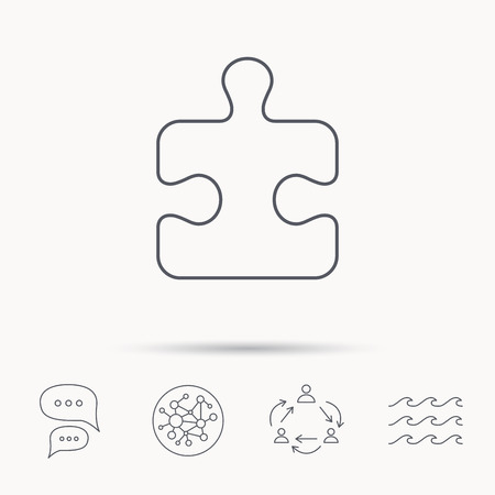boardgames: Puzzle icon. Jigsaw logical game sign. Boardgame piece symbol. Global connect network, ocean wave and chat dialog icons. Teamwork symbol.