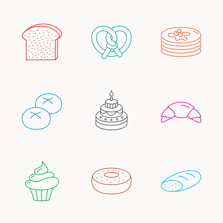 bread rolls: Croissant, pretzel and bread icons. Cupcake, cake and sweet donut linear signs. Pancakes, toast and bread rolls flat line icons. Linear colored icons.