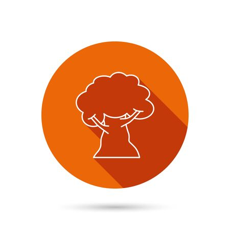coma: Oak tree icon. Forest wood sign. Nature environment symbol. Round orange web button with shadow. Illustration