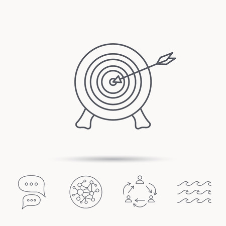 bowman: Target with arrow icon. Archery aiming sign. Professional shooter sport symbol. Global connect network, ocean wave and chat dialog icons. Teamwork symbol.