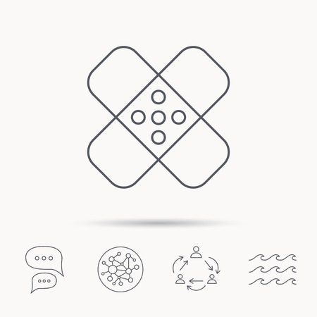 maim: Medical plaster icon. Injury fix sign. Global connect network, ocean wave and chat dialog icons. Teamwork symbol.
