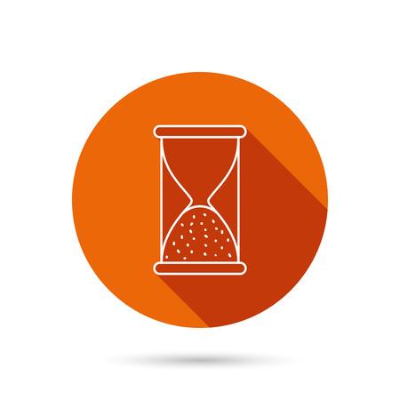 icono de reloj de arena. arena fin señal de tiempo. Hora termina símbolo. botón redondo anaranjado del Web con la sombra.