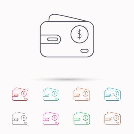 usd: Dollar wallet icon. USD cash money bag sign. Linear icons on white background.