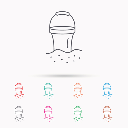 beach game: Bucket in sand icon. Trash bin sign. Child beach game symbol. Linear icons on white background.