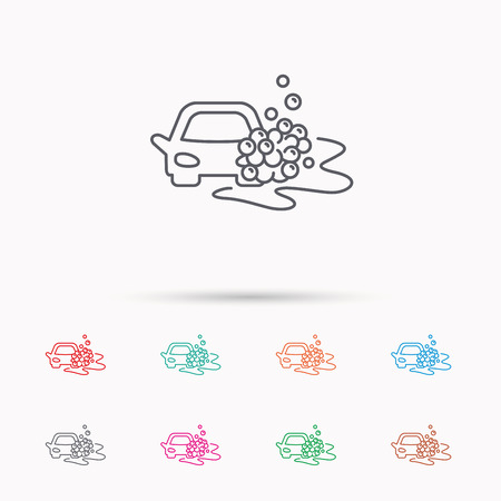 foam bubbles: Car wash icon. Cleaning station sign. Foam bubbles symbol. Linear icons on white background.
