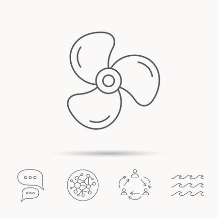 water cooler: Ventilation icon. Fan or propeller sign. Global connect network, ocean wave and chat dialog icons. Teamwork symbol.
