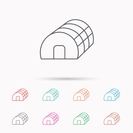 warm house: Greenhouse complex icon. Hothouse building sign. Warm house symbol. Linear icons on white background. Illustration