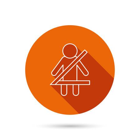 seat belt: Fasten seat belt icon. Human silhouette sign. Round orange web button with shadow.