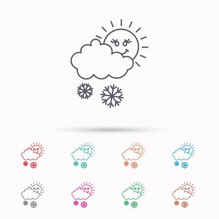 overcast: Snow with sun icon. Snowflakes with cloud sign. Snowy overcast symbol. Linear icons on white background.