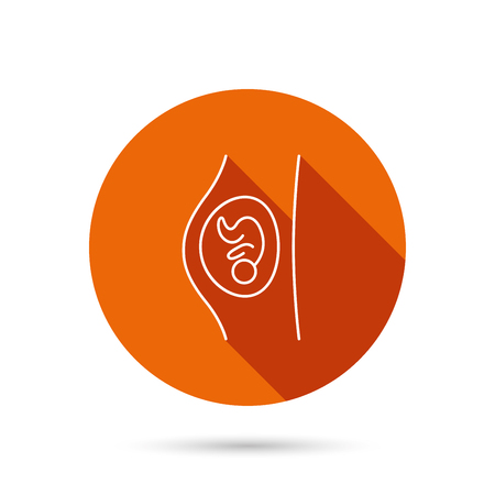 obstetrics: Pregnancy icon. Medical genecology sign. Obstetrics symbol. Round orange web button with shadow.