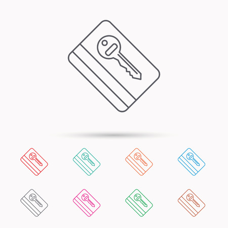 room card: Electronic key icon. Hotel room card sign. Unlock chip symbol. Linear icons on white background. Illustration
