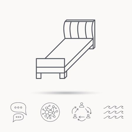 chat room: Single bed icon. Bedroom furniture sign. Global connect network, ocean wave and chat dialog icons. Teamwork symbol. Illustration