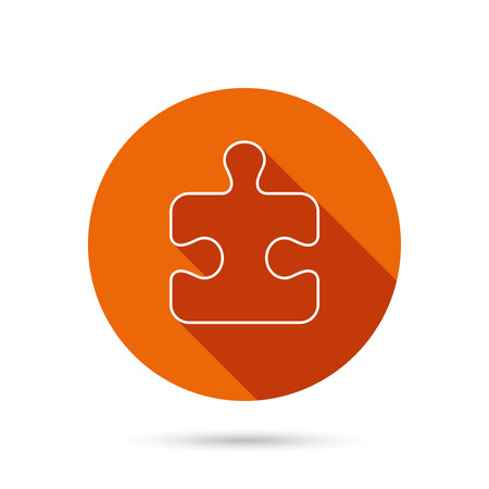 sequences: Puzzle icon. Jigsaw logical game sign. Boardgame piece symbol. Round orange web button with shadow.