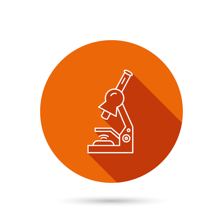 criminology: Microscope icon. Medical laboratory equipment sign. Pathology or scientific symbol. Round orange web button with shadow. Illustration