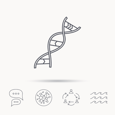 adenine: DNA icon. Genetic evolution structure sign. Biology science symbol. Global connect network, ocean wave and chat dialog icons. Teamwork symbol.