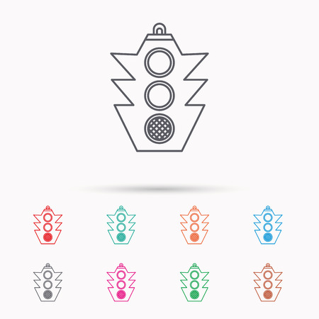 regulate: Traffic light icon. Safety direction regulate sign. Linear icons on white background. Illustration