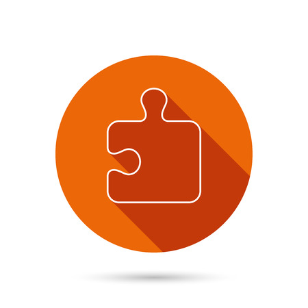 boardgames: Puzzle icon. Jigsaw logical game sign. Boardgame piece symbol. Round orange web button with shadow.