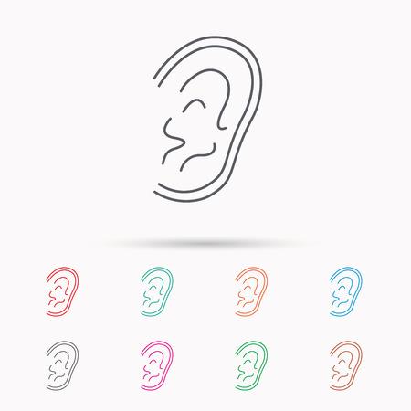 otorhinolaryngology: Ear icon. Hear or listen sign. Deaf human symbol. Linear icons on white background.