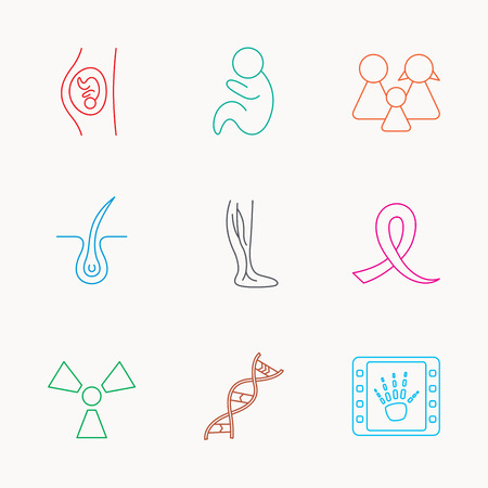 pediatrics: Pregnancy, pediatrics and family icons. Trichology, vein varicose and oncology awareness ribbon linear signs. Radiology, DNA icons. Linear colored icons.