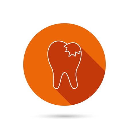 fillings: Dental fillings icon. Tooth restoration sign. Round orange web button with shadow.