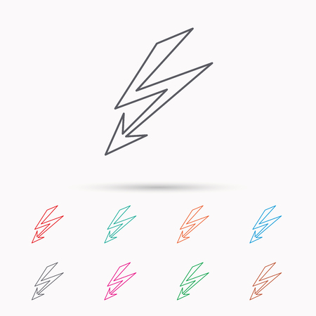lightening: Lightening bolt icon. Power supply sign. Electricity symbol. Linear icons on white background.